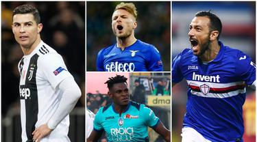 Berikut ini daftar pencetak gol terbanyak sementara Serie A 2019. Striker Sampdoria, Quagliarella, menduduki posisi teratas dengan koleksi 25 gol, sementara bintang Juventus, Cristiano Ronaldo di posisi tiga dengan 21 gol. (Foto Kolase AP dan AFP)