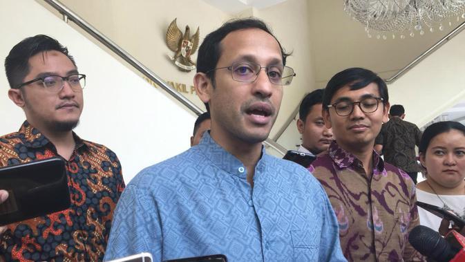 CEO dan Founder Gojek Nadiem Makarim menemui Wakil Presiden Jusuf Kalla, Selasa (16/7/2019). (Merdeka.com/ Intan Umbari Prihatin)