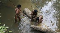Kebiasaan Orang Rimba Jambi mencari ikan di sungai (Liputan6.com/B Santoso)