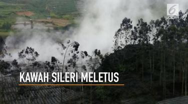 Kawah Sileri di pegunungan Dieng kembali menyemburkan asap tebal setinggi 150 meter.