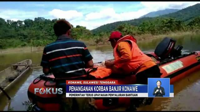 BNPB, BPBD, Basarnas, dan Pemkab Konawe salurkan bantuan ke korban anjir di daerah terisolir.