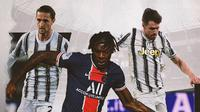 Moise Kean, Adrien Rabiot dan Aaron Ramsey. (Bola.com/Dody Iryawan)