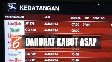 Kabut asap masih selimuti Pontianak, penerbangan Bandara Supadio ditutup sementara.