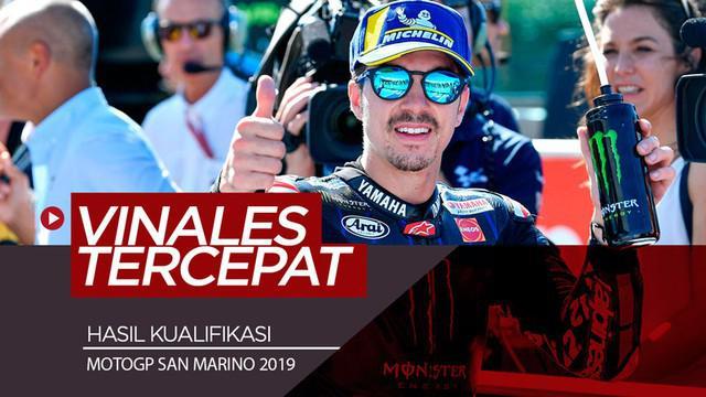 Berita video pembalap Monster Energy Yamaha, Maverick Vinales, meraih pole position di start MotoGP San Marino setelah menjadi yang tercepat di sesi kualifikasi, Sabtu (14/9/2019).