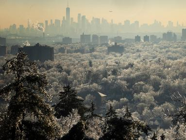 Pohon-pohon bersalju membentang di depan cakrawala Kota New York di West Orange, New Jersey (18/12/2019). Badai musim dingin membawa malapetaka ke New Jersey ketika es menyebabkan pemadaman listrik dan menumbangkan pohon di seluruh wilayah tersebut. (Rick Loomis/Getty Images/AFP)