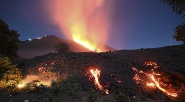 Aliran lava dari Gunung Berapi Pacaya di desa Patrocinio, San Vicente Pacaya, sekitar 60 kilometer selatan kota Guatemala pada Kamis (25/3/2021). Sejak awal Februari 2021 lalu, aktivitas Gunung Pacaya dilaporkan terus aktif. (Johan ORDONEZ / AFP)