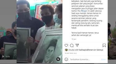 Menteri Badan Usaha Milik Negara (BUMN) Erick Thohir membeli lukisan potret dirinya dari komunitas seniman jalanan di Bogor. instagram @erickthohir