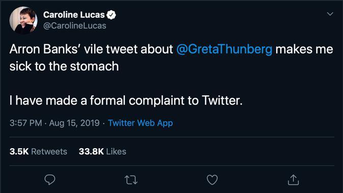 Caroline Lucas mencuitkan pembelaan pada Greta Thunberg melalui Twitter pada Kamis (15/8/2019).
