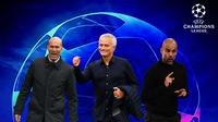 Liga Champions - Zinedine Zidane, Jose Mourinho, Pep Guardiola (Bola.com/Adreanus Titus)