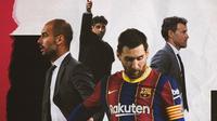 Lionel Messi, Pep Guardiola, Frank Rijkaard dan Luis Enrique. (Bola.com/Dody Iryawan)