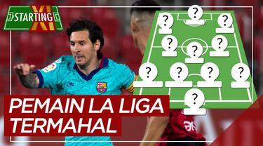 Berita motion grafis Starting XI pemain termahal La Liga musim ini, Lionel Messi masih paling berharga.