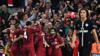 Liverpool menang 3-2 atas Paris Saint-Germain pada laga perdana Grup C Liga Champions, di Stadion Anfield, Selasa (18/9/2018). (AFP/Paul Ellis)