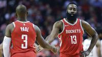 Kombinasi Chris Paul dan James Harden membawa Houston Rockets bersinar pada NBA musim ini. (AP Photo/Eric Christian Smith)