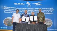 Penandatanganan nota kesepahaman atau MoU dilakukan oleh Direktur Utama Len Industri Zakky Yasin Gamal dengan Direktur Utama PT ASDP Ira Puspadewi di Kantor Pusat Len Bandung, pada  Rabu (11/7/2018).