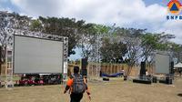 Tempat nobar Jokowi menyaksikan penutupan Asian Games 2018, di Lapangan Gunung Sari, Lombok Barat. (Liputan6.com/Loop/BNPB)