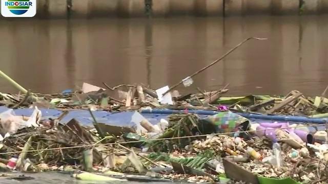 Selain sampah rumah tangga, sampah yang menumpuk di Kanal Banjir Barat adalah tumpukan bambu dan kayu.