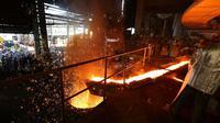 Antam produksi feronikel perdana Electric Smelting Furnace-4 (ESF-4) yang merupakan bagian dari Proyek Perluasan Pabrik Feronikel Pomalaa (P3FP).