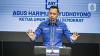 Ketua Umum Partai Demokrat Agus Harimurti Yudhoyono (AHY) saat konferensi pers terkait KLB Partai Demokrat di DPP Pusat Partai Demokrat, Jakarta, Jumat (5/3/2021). AHY memberikan respons atas KLB di Deliserdang yang menetapkan Moeldoko sebagai ketua umum Partai Demokrat. (Liputan6.com/Faizal Fanani)