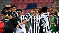 Juventus menang 4-1 atas Bologna pada laga pekan terakhir Serie A musim ini di Stadio Renato Dell'Ara, Senin (24/5/2021) dini hari WIB. (AFP/ANDREAS SOLARO)