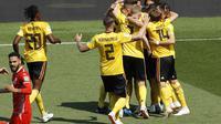 Pemain Belgia merayakan gol yang diciptakan Romelu Lukaku ke gawang Tunisia (AP Photo/Hassan Ammar)