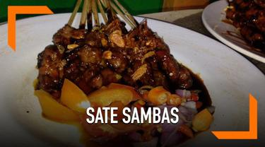 Kuliner malam Jumat kali ini, Liputan6.com mencoba salah satu kuliner sate yakni Sate Sambas Haji Rofii.