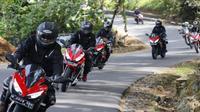 Peserta Honda Bikers Day (HBD) 2018 menuju Pangandaran. (AHM)