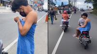 Aksi Kocak Pria Keliling Kota Pakai Handuk. (Sumber: TikTok/ @iniparis)