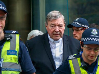 Tokoh Katolik Australia, Kardinal George Pell menjalani sidang dugaan pelecehan seksual di Melbourne, Rabu (2/4). Pejabat paling senior Vatikan ini dituduh terkait krisis pelecehan seks Gereja Katolik. (AP Photo/Asanka Brendon Ratnayake)