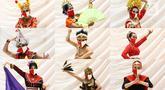"""Penari mengenakan masker dan pakaian tradisional saat foto sesi untuk Liputan6.com dalam acara """"Tunjukan Indonesiamu, Satukan Negeri"""" di Jakarta, Sabtu (15/8/2020). Acara yang digelar virtual tersebut untuk mengampanyekan budaya Indonesia dan memperingati HUT ke-75 RI. (Liputan6.com/Johan Tallo)"""