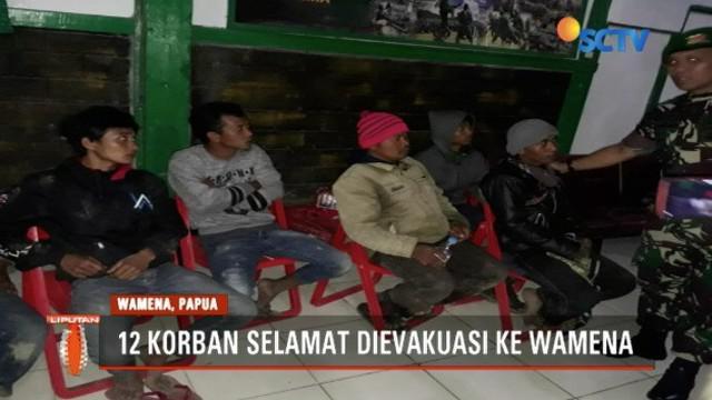 12 pekerja PT Istaka Karya yang jadi korban penyerangan kelompok kriminal bersenjata telah diterbangkan ke Wamena, Papua.
