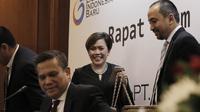 Direktur Programing SCM, Harsiwi Achmad, saat jumpa pers di Hotel Sultan, Jakarta, Kamis (8/3/2018). Emtek resmi memegang hak siar Liga 1 Indonesia 2018. (Bola.com/M Iqbal Ichsan)