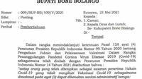 Kutipan surat edaran Bupati Bone Bolango (Arfandi Ibrahim/Liputan6.com)