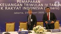 Dirut BRI Sunarso bersama jajaran Direksi disela memberikan paparan Kinerja Keuangan Triwulan IV tahun 2019, Jakarta, Kamis (23/1/2020). Sepanjang tahun 2019 aset BRI tercatat Rp 1.418,95 Triliun, tumbuh 9,41% dibanding aset akhir tahun 2018 sebesar Rp 1.296,90 Triliun. (Liputan6.com/Fery Pradolo)