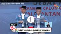 Paslon nomor urut satu Ir Ben Brahim S Bahat dan Dr Ujang Iskandar pada debat publik Pilgub Kalimantan Tengah 2020 yang bertemakan 'Meningkatkan Ekonomi dan Kesejahteraan Masyarakat Kalteng'. (Ist)