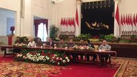 Presiden Jokowi mengumumkan pemindahan Ibu Kota negara baru ke Penajam Paser Utara dan Kutai Kertanegara. (Liputan6.com/Lizsa Egeham)