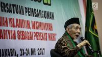 Ketua Dewan Syariah PPP Maimun Zubair memberikan sambutan dalam pembukaan Rapat Pimpinan Nasional (Rapimnas) II PPP versi muktamar Surabaya di Hotel Ibis Cawang, Jakarta Timur, Selasa (23/5). (Liputan6.com/Faizal Fanani)