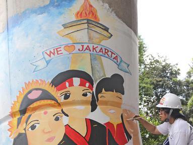 Seorang siswi sedang  membuat mural di bawah Jalan Layang Non-tol Antasari, Jakarta, Sabtu (10/3). Sebanyak 63 tiang akan dilukis mural oleh perwakilan dari SMA dan SMK di Jakarta untuk mempercantik kawasan tersebut. (Liputan6.com/Herman Zakharia)