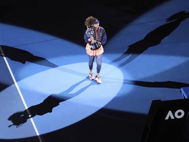 Naomi Osaka keluar sebagai juara di Australia Terbuka 2021. Petenis asal Jepang itu menang dua set langsung atas Jennifer Brady di babak final. (AP Photo/Hamish Blair)