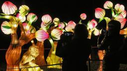 Pengunjung memotret salah satu set lentera tematik yang dipamerkan dalam festival The Great Lanterns of China di Pakruojis Manor, Lithuania, Rabu (25/12/2019). Festival ini berlangsung hingga 6 Januari 2019. (Petras MALUKAS/AFP)