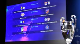 layar monitor menampilkan hasil drawing Liga Champions UEFA 2019/2020 di markas UEFA, Nyon, Jumat (10/7/2020). Rencananya laga leg kedua 16 besar Liga Champions akan digelar pada Agustus 2020 mendatang. (AFP/Harold Cunningham/UEFA)