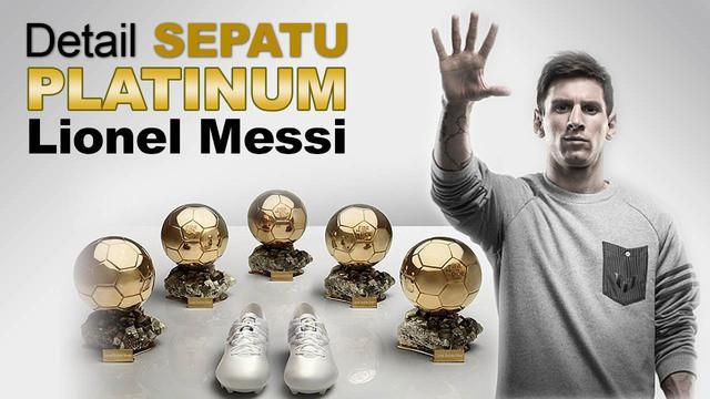 Video sepatu bola platinum yang di rancang khusus oleh adidas untuk Lionel Messi yang telah meraih Ballon d`Or sebanyak 5 kali.