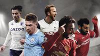 Bruno Fernandes, Kevin De Bruyne, Jack Grealish, Mohamed Salah, Harry Kane. (Bola.com/Dody Iryawan)