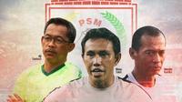 PSM Makassar - Aji Santoso, Bima Sakti, dan Hendro Kartiko (Bola.com/Adreanus Titus)