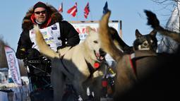 Aaron Burmeister dan timnya meninggalkan garis start Iditarod Sled Dog Race di Deshka Landing di Willow, Alaska, Minggu (7/3/2021). Tim anjing yang dipimpin oleh para pengemudi yang dikenal sebagai mushers berlari melintasi jalan-jalan bersalju. (Marc Lester/Anchorage Daily News via AP)