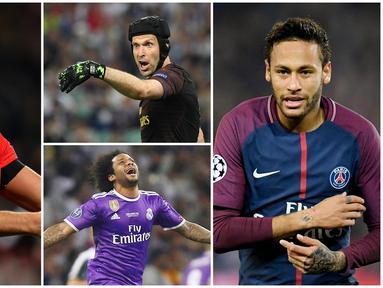 Berikut ini pesepak bola yang juga eksis sebagai YouTober. Diantaranya adalah Marcelo, Peter Cech dan Neymar. (Foto Kolase AP dan AFP)