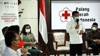 Jusuf Kalla dalam acara Gerakan Nasional Pendonor Plasma Konvalesen di Markas Pusat PMI, Jakarta, Senin, 18 Januari 2021.(Foto: dok. Tim Media JK)