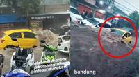 Banjir di Bandung (Sumber: Instagram/bandungtalk/TikTok/jeungeli_05)