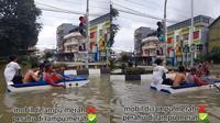 Viral Aksi Pemuda Naik Perahu Berhenti di Lampu Merah saat Banjir (Sumber: TikTok/@amin.aja_1)