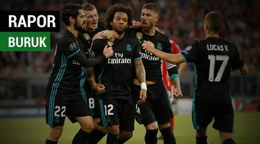 Berita video rapor buruk beberapa pemain Real Madrid saat mengalahkan Bayern Munchen pada leg pertama semifinal Liga Champions 2017-2018.