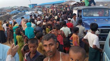 Pengungsi Rohingya dari Rakhine State, Myanmar di Bangladesh. (Dokumentasi KBRI Dhaka)